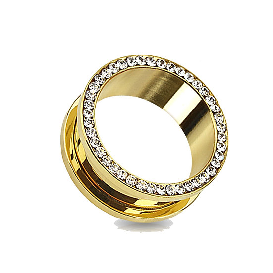 DIAMOND YELLOW GOLD SPACER FLESH TUNNEL PLUG