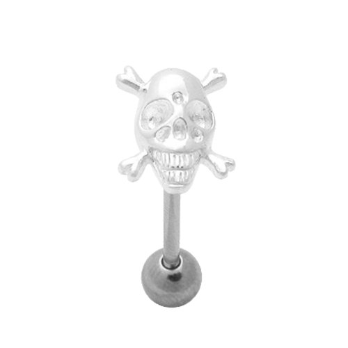SKULL N CROSSBONES TONGUE BAR RING SURGICAL STEEL BARBELL