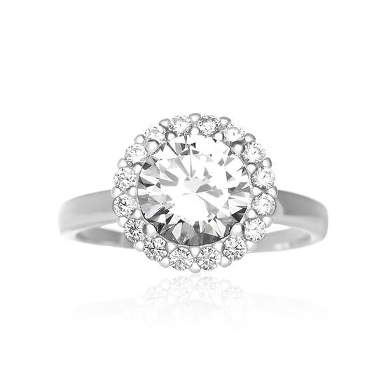 925 Sterling Silver Halo Round Simulated Diamond Ring