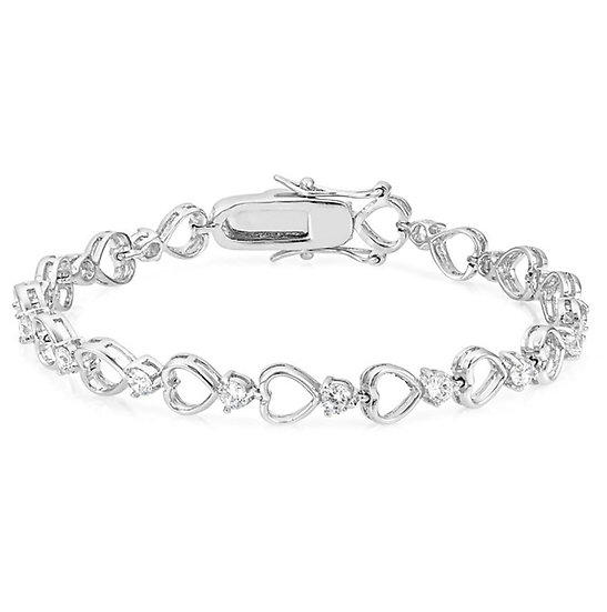 LOVE HEART LINK DIAMOND SILVER BRACELET
