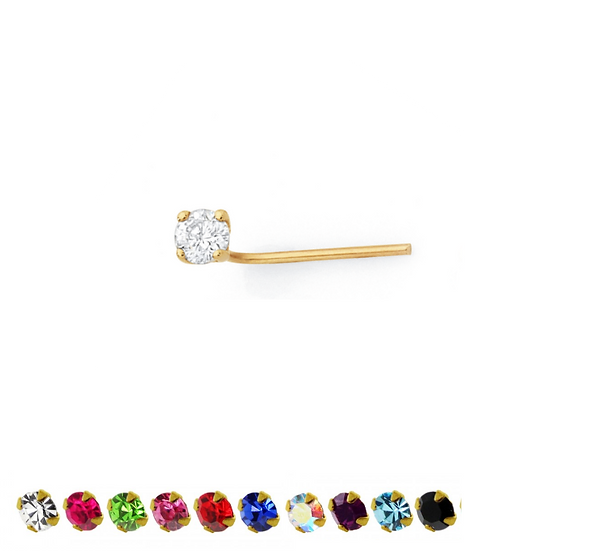 9ct Yellow Gold Coloured CZ L Shaped Nose Bone Stud