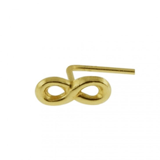 SOLID 9CT YELLOW GOLD INFINITY NOSE L SHAPE BEND STUD