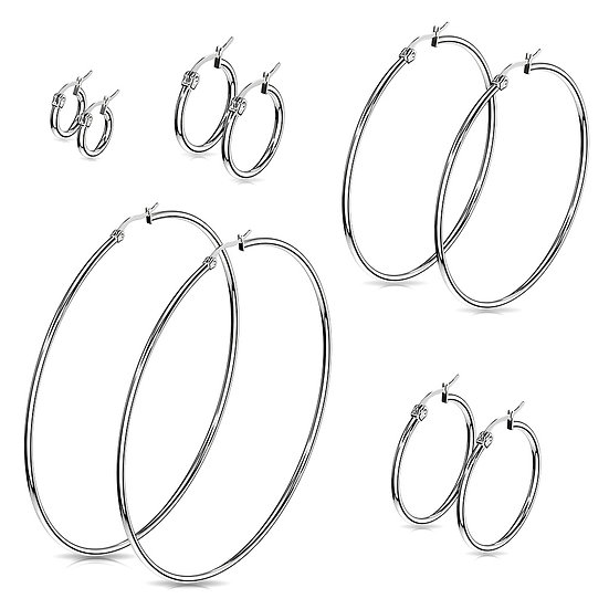 MULTI SILVER THIN HOOP EARRINGS