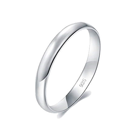 Solid Sterling Silver 3mm Plain Unisex Wedding Band Ring