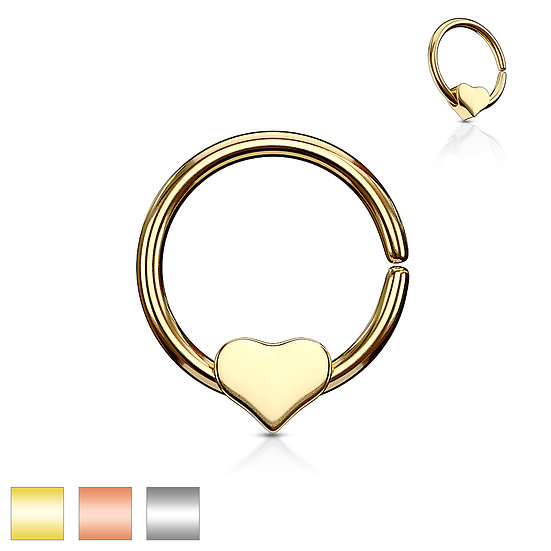 Flat Love Heart Nose Septum Bendable Hoop Ear Ring