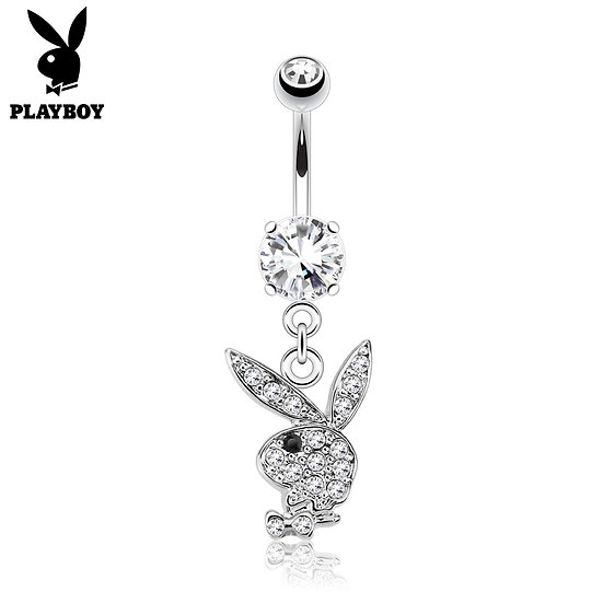 PLAYBOY HEAD DIAMOND SILVER BELLY BUTTON NAVEL RING