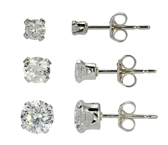 Sterling Silver 5mm & 3mm & 2mm Diamond Stud Earrings