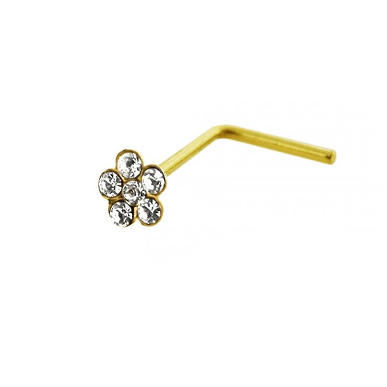 9K SOLID YELLOW GOLD FLOWER L SHAPED BEND BENT NOSE PIN STUD