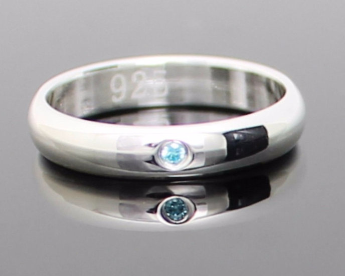 Aqua Ice Blue CZ Silver Band Ring