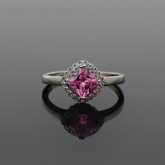 Sterling Silver Pink Cubic Zirconia Statement Ring