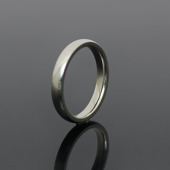 Glossy Mirror Polished Silver Stainless Steel 3mm Band Ring