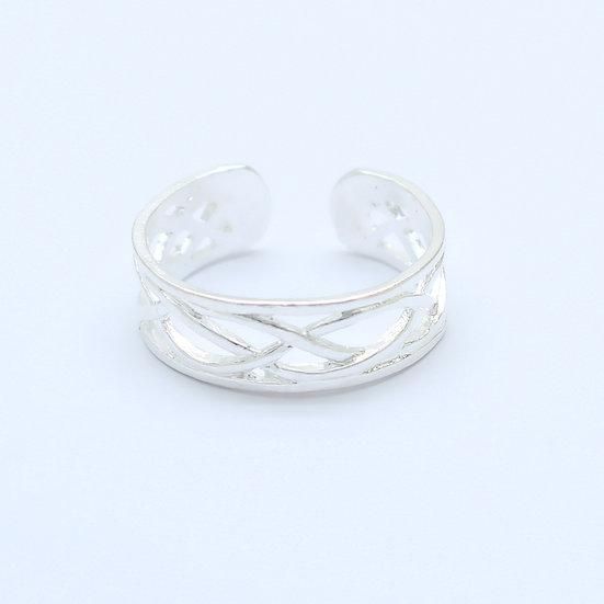 Silver Weave Toe Midi Ring