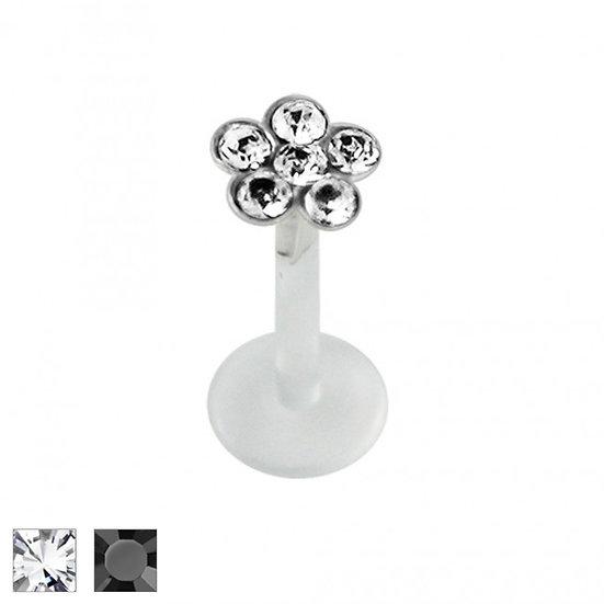 Crystal Flower Sterling Silver Hypoallergenic Labret