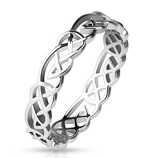 CELTIC TRIBAL KNOT PATTERNED BAND RING