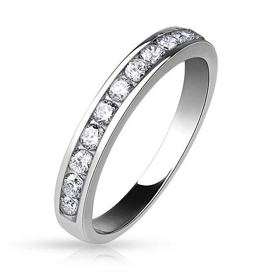 SIMULATED DIAMOND SILVER RHODIUM IP FRIENDSHIP RING