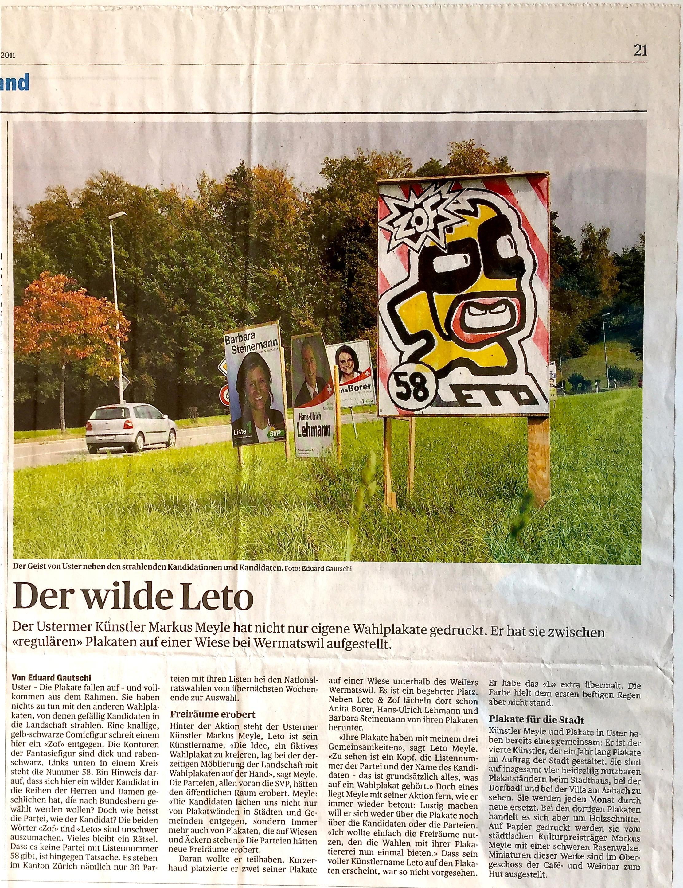 Tages Anzeiger Okt. 2011