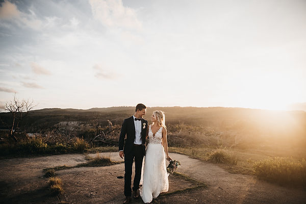 blue mountains wedding and elopement photographer. couple Walking into the sunset