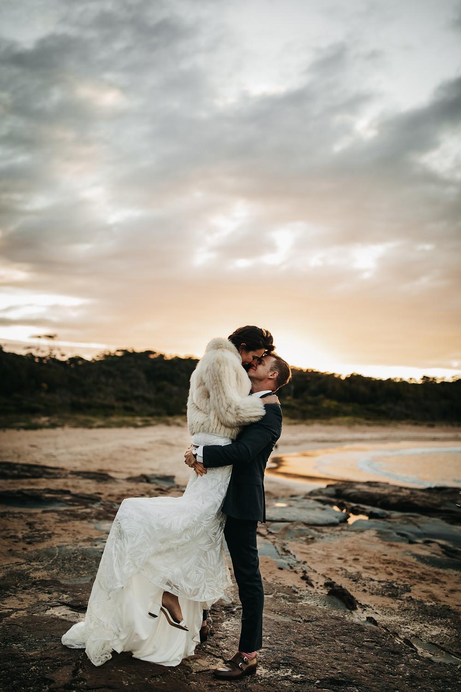South Coast Elopement couple dancing in the sun. Shot by Wedding Photographer Matt Ashton Photography