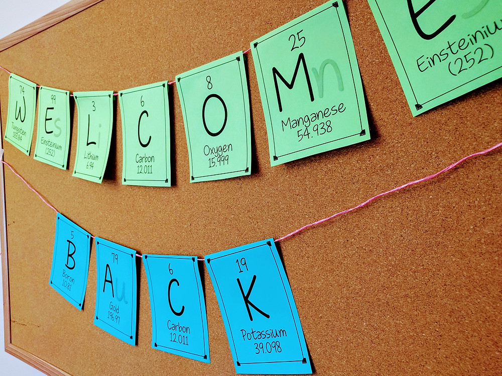 Welcome Back spelled in elements