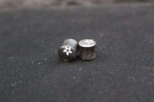 Gabon Ebony Flower Inlay Plugs