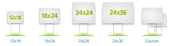 Yard Sign size options