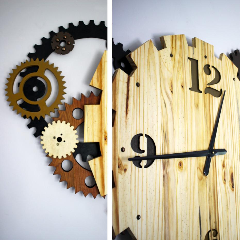 Horloge murale engrenages en bois