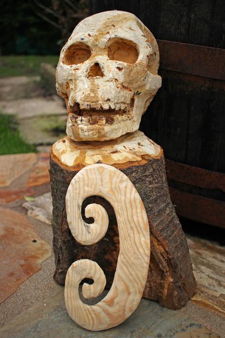 Asmat skull in progress