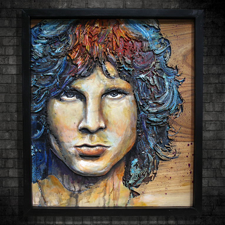 Portrait Jim Morrison on wood