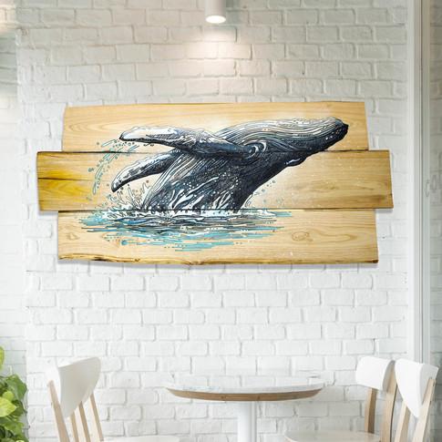 Gravure baleine sur assemblage en châtaignier