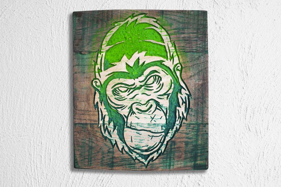 """Cadre sculpté en bois """"Gorille"""" / Gorilla / Wood collage"""