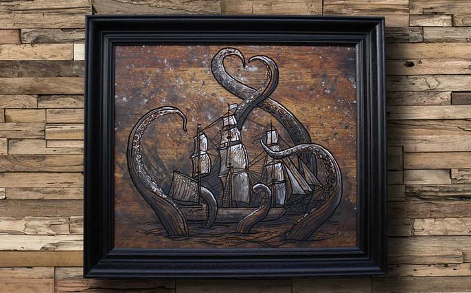 Cadre bois gravure kraken