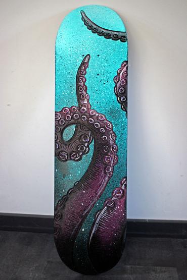 """Skateboard gravé """"octopus"""""""