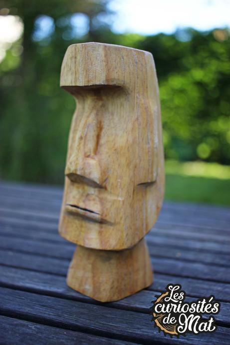 Sculpture tête Moaï mo' ai île de Pâques / Art tribal / Tiki Bar