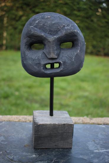 Sculpture visage inspiration africaine bois