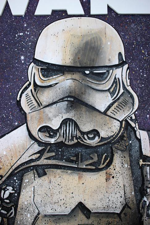 Tableau Stormtrooper Star Wars gravé et peint sur bois / pièce unique /