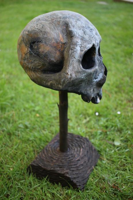 Sculpture tête de mort bois / Totem / Trophée / Pirate / Rock & roll / Cabinet de curiosités - Curiosity cabinet