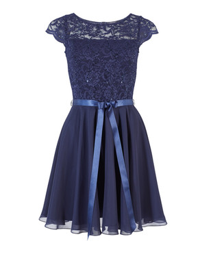 Abendkleid Abiballkleid Ballkleid Swing blau kurz
