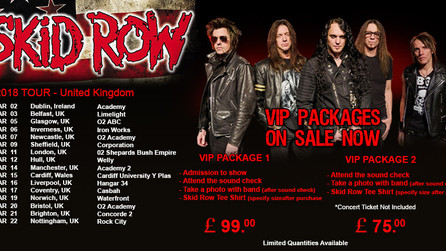 Skid Row UK VIP Packages now available