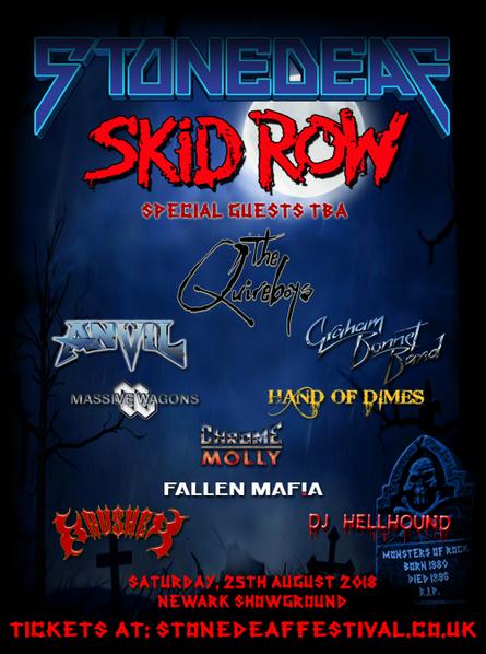 SKID ROW to headline STONEDEAF Festival