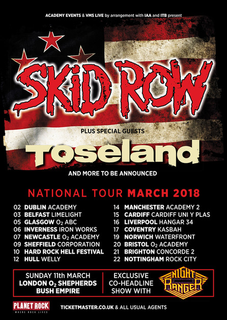 Skid Row announce March 2018 UK tour with Toseland