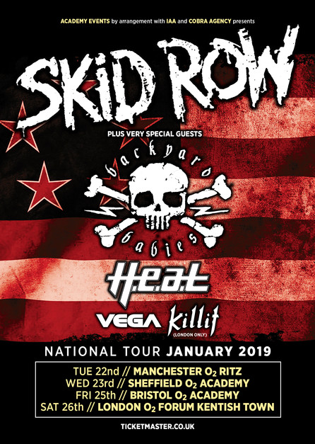 SKID ROW is heading back to England in January, 2019