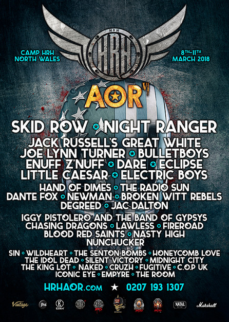 SKID ROW to headline Hard Rock Hell's AOR Fest VI. Stay tuned for details!