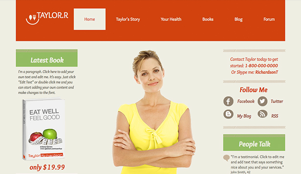 Health website templates – The Nutritionist