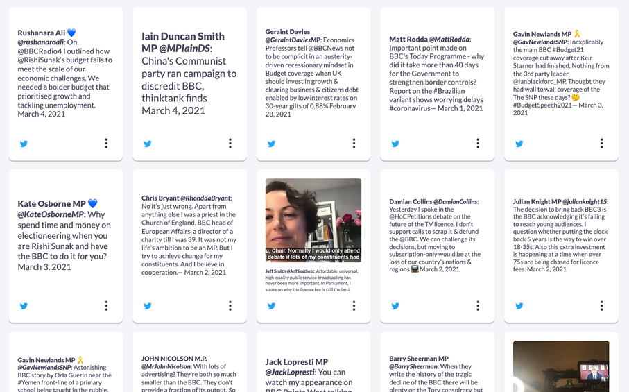 Live feed tracking MPs tweeting about the BBC