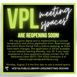 VPL Meeting Spaces Reopening Soon!