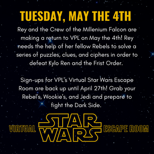 Virtual Star Wars Escape Room on May the 4th!