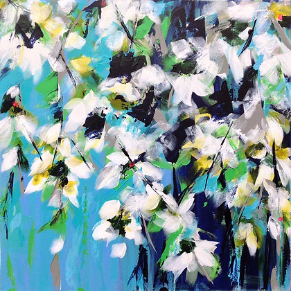 Spring Magnolias Blue   Original Print  80cm  x  80cm