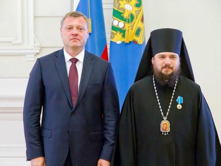 """Владыка Антоний награжден медалью ордена """"За заслуги перед Астраханской областью"""""""