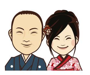 結婚式用 ペーパーアイテム用似顔絵イラスト