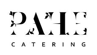 PAHE CATERING -logo mustalla tekstillä ja valkoisella taustalla.